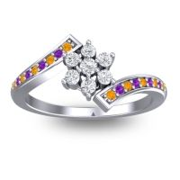 Simple Floral Pave Utpala Diamond Ring with Citrine and Amethyst in 14k White Gold