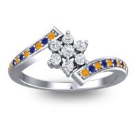 Simple Floral Pave Utpala Diamond Ring with Citrine and Blue Sapphire in Platinum