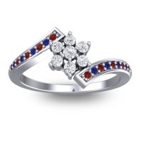 Simple Floral Pave Utpala Diamond Ring with Garnet and Blue Sapphire in Platinum