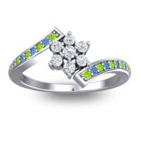 Simple Floral Pave Utpala Diamond Ring with Peridot and Swiss Blue Topaz in Palladium