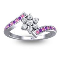 Simple Floral Pave Utpala Diamond Ring with Pink Tourmaline and Amethyst in 14k White Gold