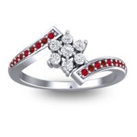 Simple Floral Pave Utpala Diamond Ring with Ruby and Garnet in Palladium