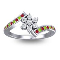 Simple Floral Pave Utpala Diamond Ring with Ruby and Peridot in 14k White Gold