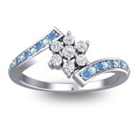 Simple Floral Pave Utpala Diamond Ring with Swiss Blue Topaz and Aquamarine in Palladium