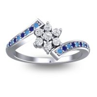 Simple Floral Pave Utpala Diamond Ring with Swiss Blue Topaz and Blue Sapphire in Platinum