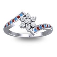 Simple Floral Pave Utpala Diamond Ring with Swiss Blue Topaz and Garnet in 14k White Gold