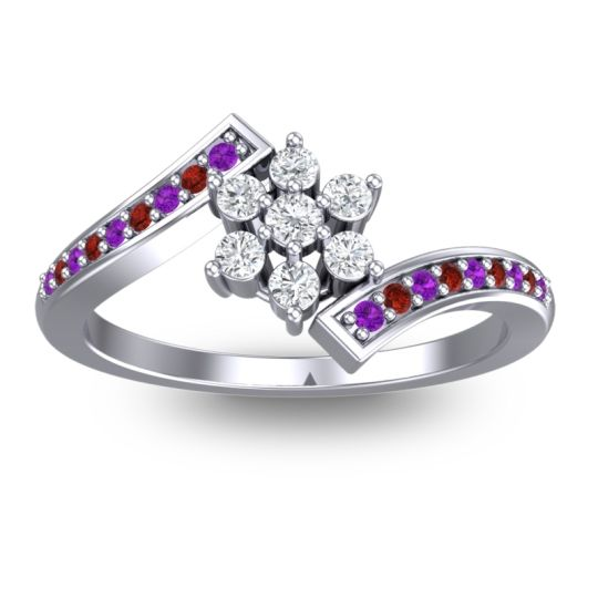 Simple Floral Pave Utpala Diamond Ring with Amethyst and Garnet in Palladium