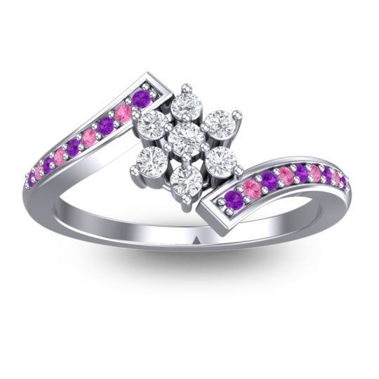 Diamond Simple Floral Pave Utpala Ring with Amethyst and Pink Tourmaline in 14k White Gold