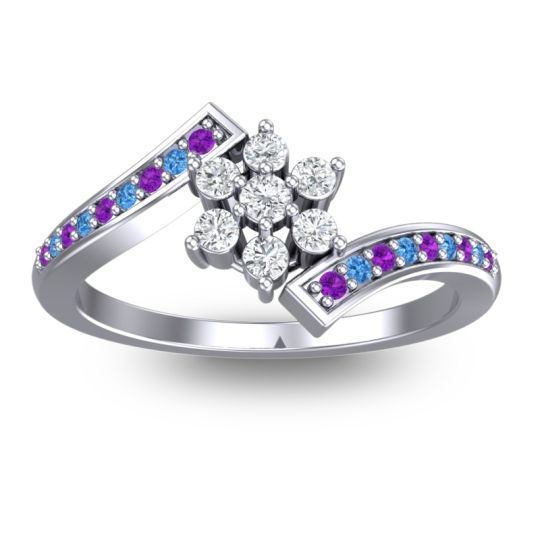 Diamond Simple Floral Pave Utpala Ring with Amethyst and Swiss Blue Topaz in 14k White Gold