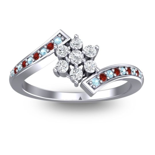 Diamond Simple Floral Pave Utpala Ring with Aquamarine and Garnet in 14k White Gold