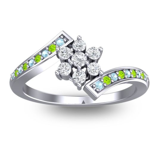 Diamond Simple Floral Pave Utpala Ring with Aquamarine and Peridot in Platinum