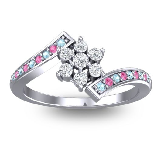 Diamond Simple Floral Pave Utpala Ring with Aquamarine and Pink Tourmaline in Palladium