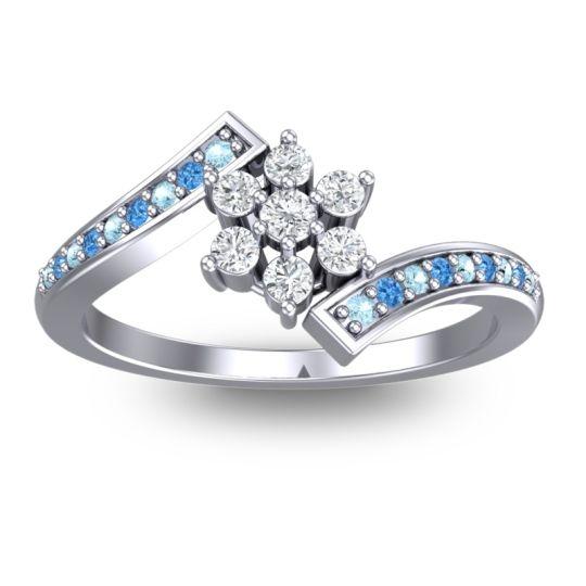 Diamond Simple Floral Pave Utpala Ring with Aquamarine and Swiss Blue Topaz in Palladium