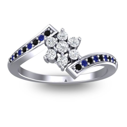 Simple Floral Pave Utpala Diamond Ring with Black Onyx and Blue Sapphire in Palladium