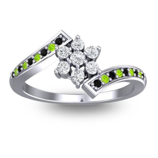 Diamond Simple Floral Pave Utpala Ring with Black Onyx and Peridot in 18k White Gold