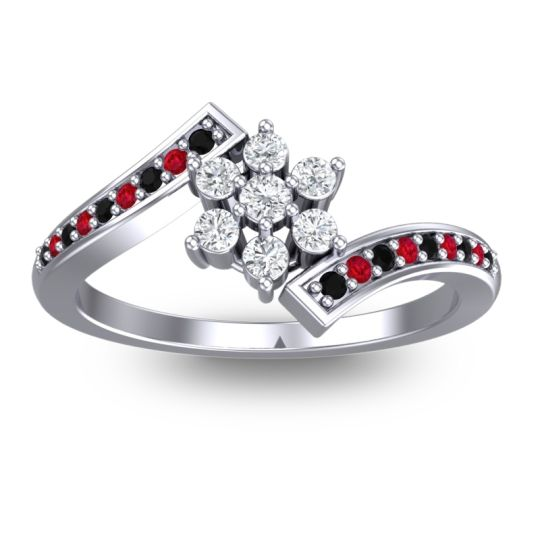 Simple Floral Pave Utpala Diamond Ring with Black Onyx and Ruby in 14k White Gold