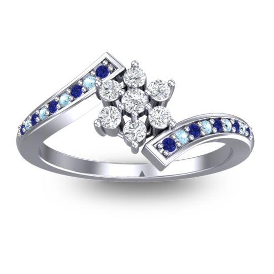 Diamond Simple Floral Pave Utpala Ring with Blue Sapphire and Aquamarine in 18k White Gold