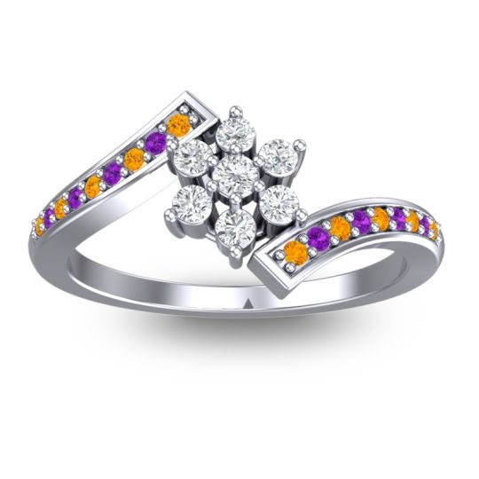 Diamond Simple Floral Pave Utpala Ring with Citrine and Amethyst in 14k White Gold