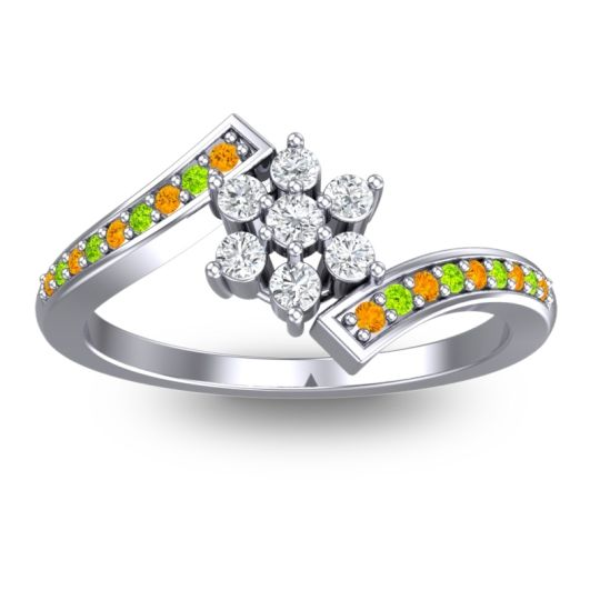 Diamond Simple Floral Pave Utpala Ring with Citrine and Peridot in 14k White Gold