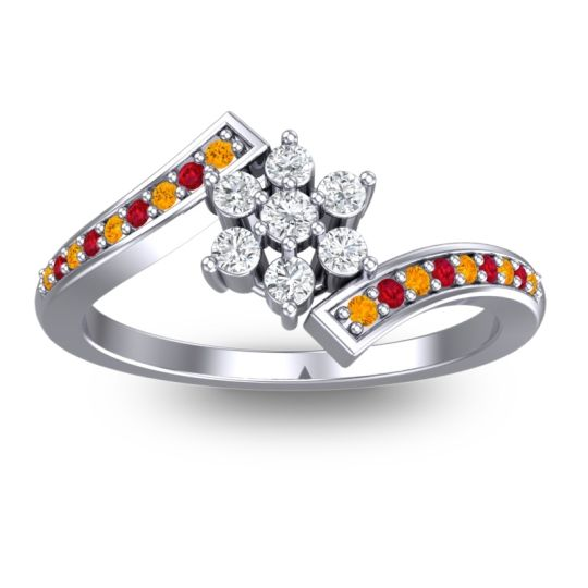 Diamond Simple Floral Pave Utpala Ring with Citrine and Ruby in 14k White Gold