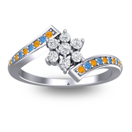 Diamond Simple Floral Pave Utpala Ring with Citrine and Swiss Blue Topaz in Platinum