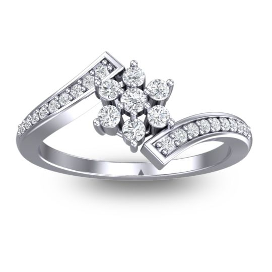 Simple Floral Pave Utpala Diamond Ring in Platinum