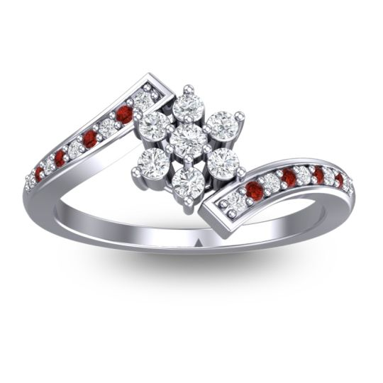Diamond Simple Floral Pave Utpala Ring with Garnet in Platinum