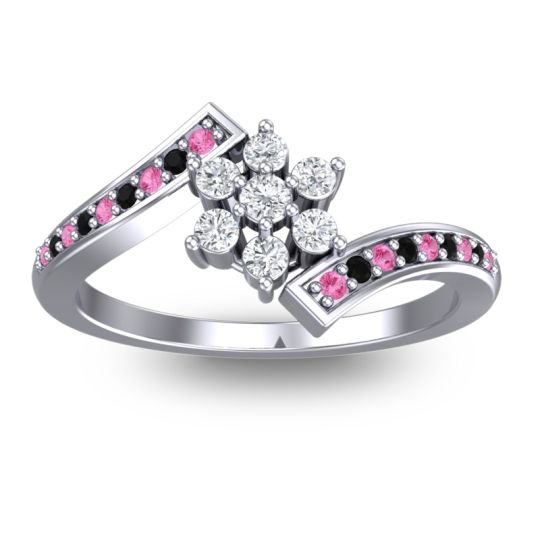 Diamond Simple Floral Pave Utpala Ring with Pink Tourmaline and Black Onyx in Platinum