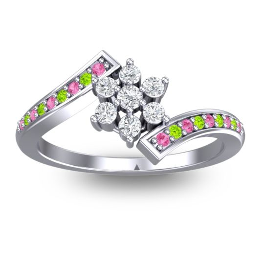 Diamond Simple Floral Pave Utpala Ring with Pink Tourmaline and Peridot in 18k White Gold