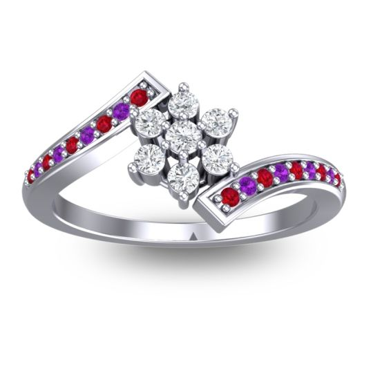 Simple Floral Pave Utpala Diamond Ring with Ruby and Amethyst in 18k White Gold