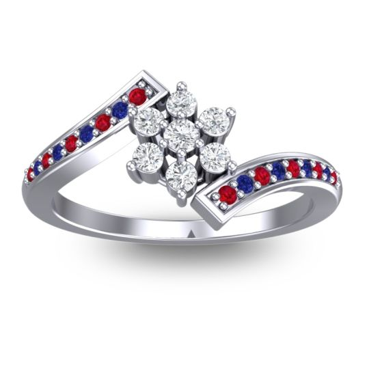 Diamond Simple Floral Pave Utpala Ring with Ruby and Blue Sapphire in 14k White Gold