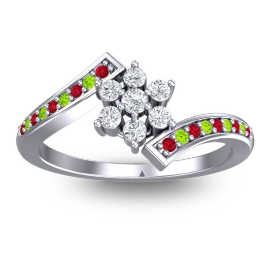 Diamond Simple Floral Pave Utpala Ring with Ruby and Peridot in 14k White Gold