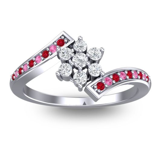 Diamond Simple Floral Pave Utpala Ring with Ruby and Pink Tourmaline in 18k White Gold