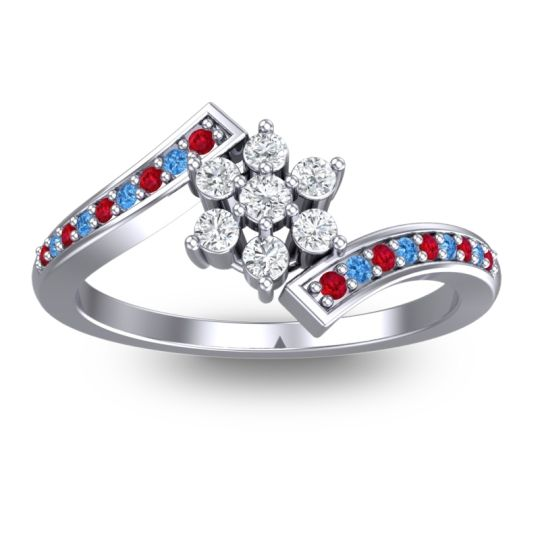 Simple Floral Pave Utpala Diamond Ring with Ruby and Swiss Blue Topaz in Palladium