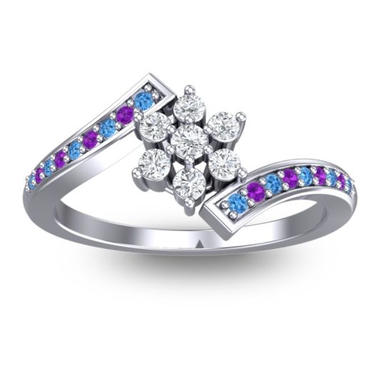 Diamond Simple Floral Pave Utpala Ring with Swiss Blue Topaz and Amethyst in Platinum