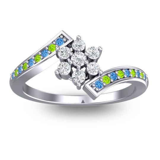 Simple Floral Pave Utpala Diamond Ring with Swiss Blue Topaz and Peridot in Palladium
