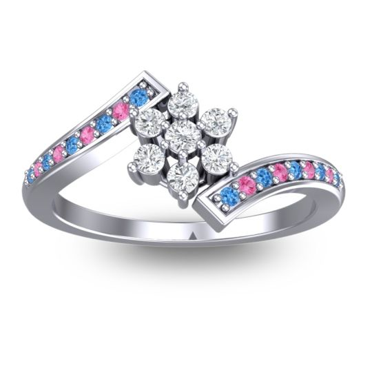 Simple Floral Pave Utpala Diamond Ring with Swiss Blue Topaz and Pink Tourmaline in Palladium