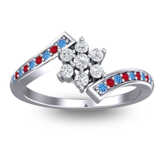 Diamond Simple Floral Pave Utpala Ring with Swiss Blue Topaz and Ruby in 18k White Gold