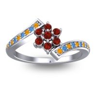 Simple Floral Pave Utpala Garnet Ring with Citrine and Swiss Blue Topaz in 14k White Gold