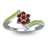 Simple Floral Pave Utpala Garnet Ring with Peridot in Platinum
