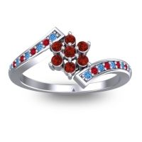 Simple Floral Pave Utpala Garnet Ring with Swiss Blue Topaz and Ruby in Platinum