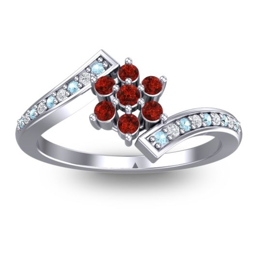 Garnet Simple Floral Pave Utpala Ring with Aquamarine and Diamond in Palladium