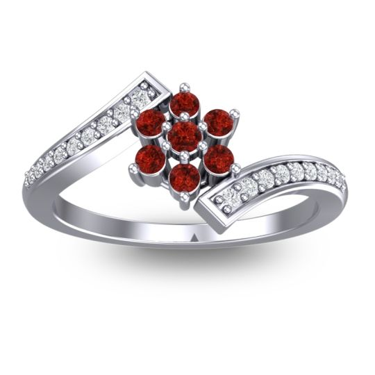 Garnet Simple Floral Pave Utpala Ring with Diamond in Palladium