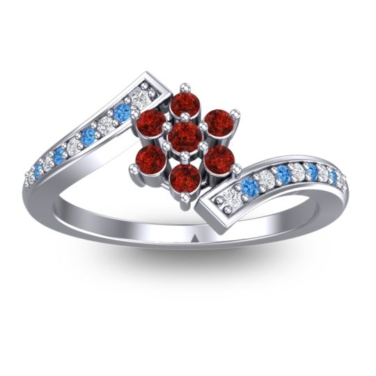 Garnet Simple Floral Pave Utpala Ring with Diamond and Swiss Blue Topaz in 18k White Gold