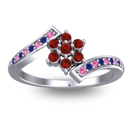 Simple Floral Pave Utpala Garnet Ring with Pink Tourmaline and Blue Sapphire in 14k White Gold