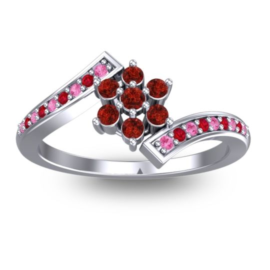 Garnet Simple Floral Pave Utpala Ring with Pink Tourmaline and Ruby in Platinum