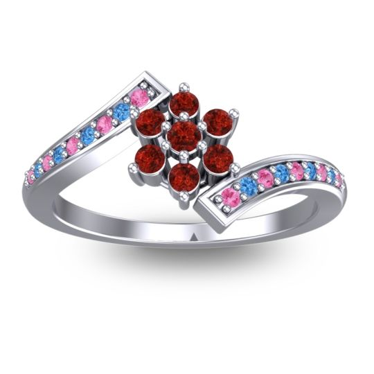 Garnet Simple Floral Pave Utpala Ring with Pink Tourmaline and Swiss Blue Topaz in 14k White Gold