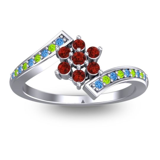 Garnet Simple Floral Pave Utpala Ring with Swiss Blue Topaz and Peridot in Palladium