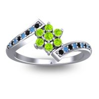 Simple Floral Pave Utpala Peridot Ring with Black Onyx and Swiss Blue Topaz in 18k White Gold