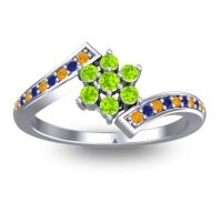 Simple Floral Pave Utpala Peridot Ring with Citrine and Blue Sapphire in 18k White Gold